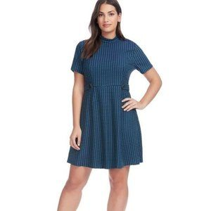 ModCloth Mock Neck Check Jacquard Dress Medium